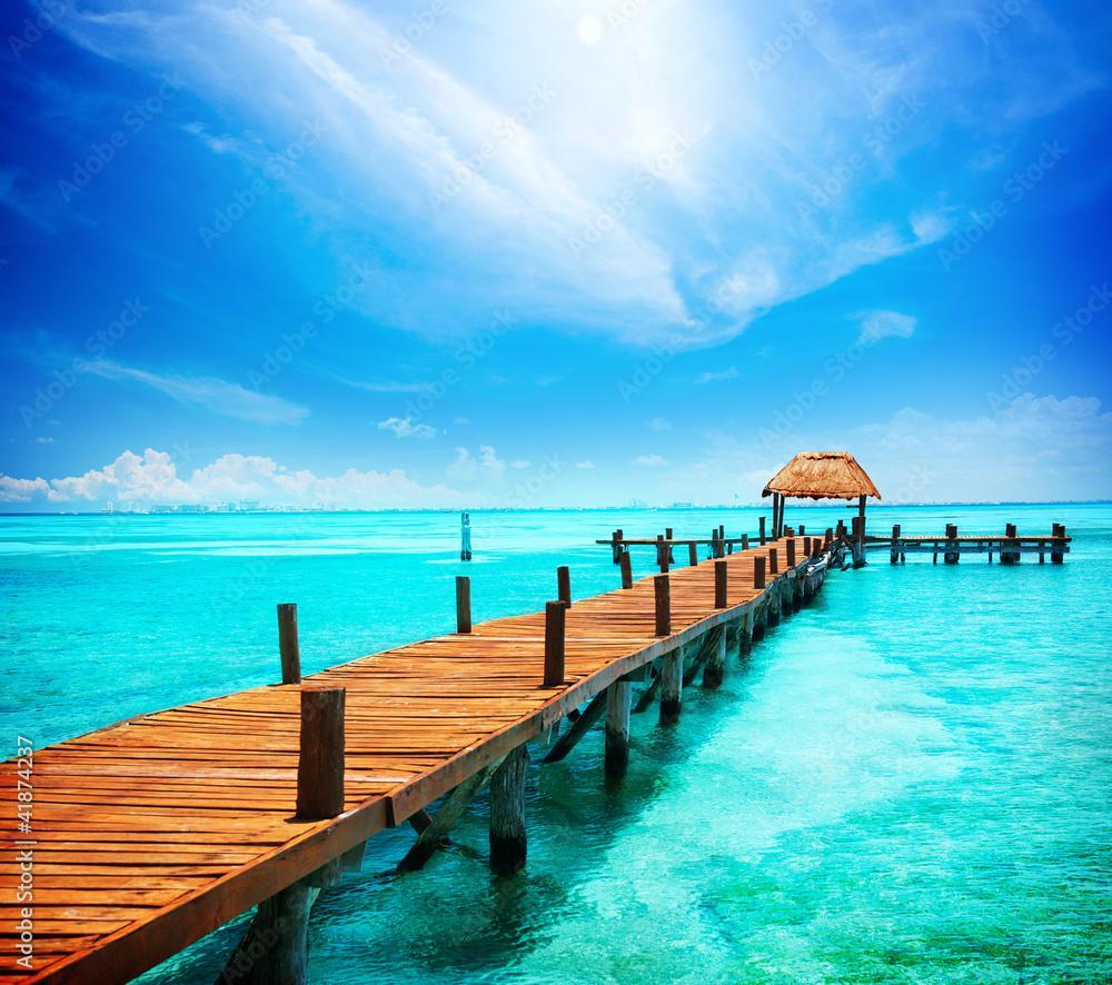 Foto Rollo Basic - Vacation in Tropic Paradise. Jetty on Isla Mujeres, Mexico