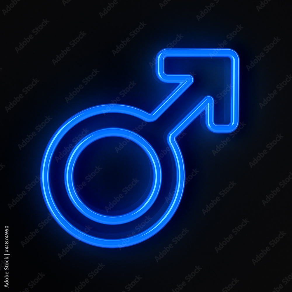 Male Symbol In Neon Blue Over Black Background Wall Mural Man