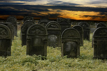 Jewish Cemetery In The Night Scene