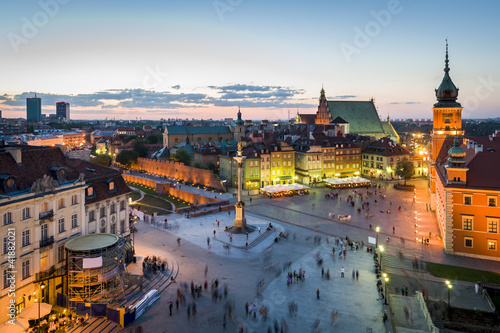 Fototapeta Panorama of Warsaw with Old Town at night obraz