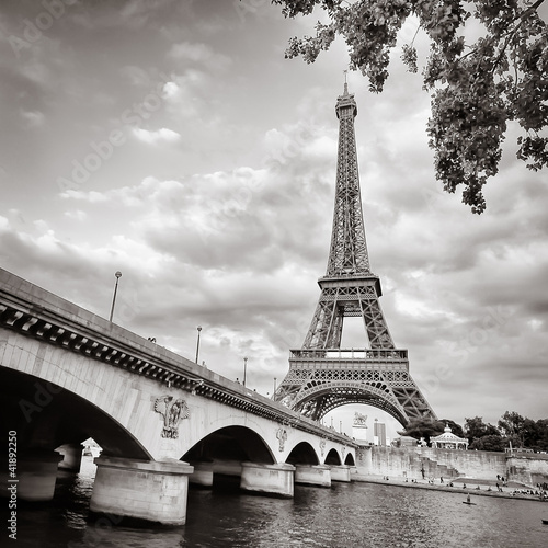 Poster de jardin Paris Eiffel tower view from Seine river square format