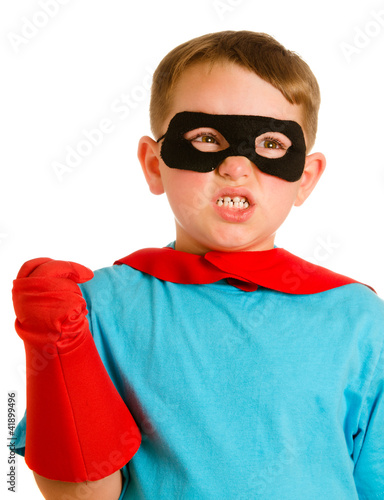 Child pretending to be a superhero Canvas Print