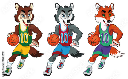 Poster Chambre d enfant Basketball mascots. Vector isolated characters