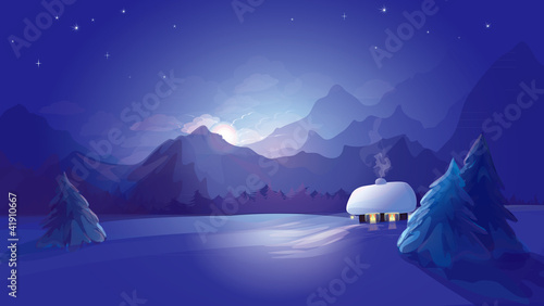 Deurstickers Violet Vector of winter landscape.