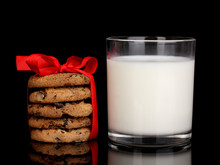 Glass Of Milk And Cookies Isol...