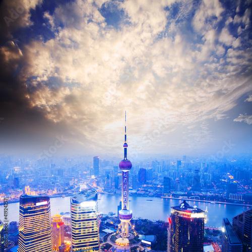 over view of shanghai Billede på lærred