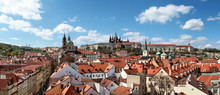 Panoramic View Of Prague Castle From Lesser Town Bridge Tower