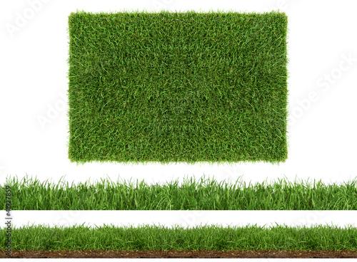 Fotomural rasen gras wiese panorama - freigestellt auf weißem hintergrund