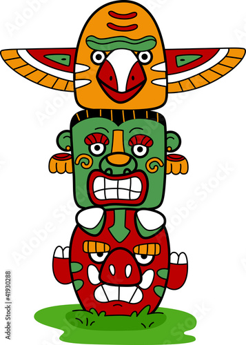 Stickers pour portes Indiens Totem Pole