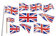 Set Of Union Jack Flags Vector...