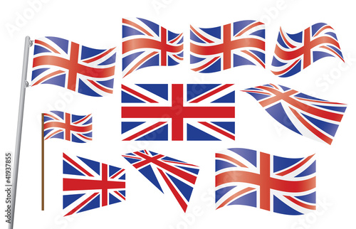 set of Union Jack flags vector illustration Canvas Print