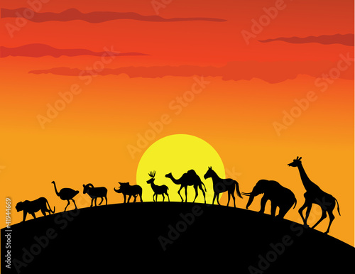 Canvas Prints Red wild animal silhouette