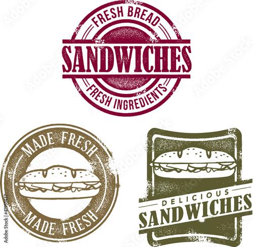 Fotografie, Obraz  Vintage Style Sandwich Stamps