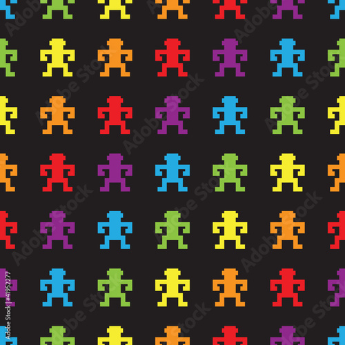 Photo sur Toile Pixel Retro rainbow pixel game monkeys seamless pattern