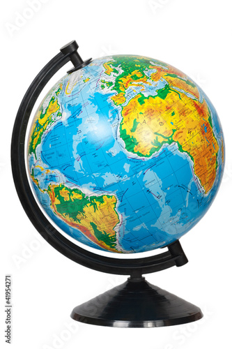 Globe in Ukrainian language isolated on white
