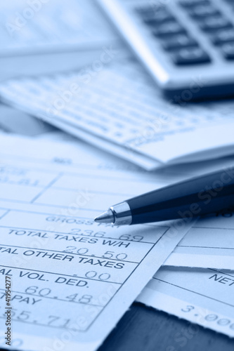 Photo coins on business paper