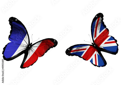 Fotografie, Obraz  Concept - two butterflies with French and English flags flying