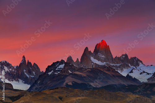 Spoed Foto op Canvas Aubergine Mount Fitz Roy at sunrise, Patagonia, Argentina