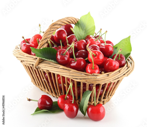 Photographie heap of cherry and leaf
