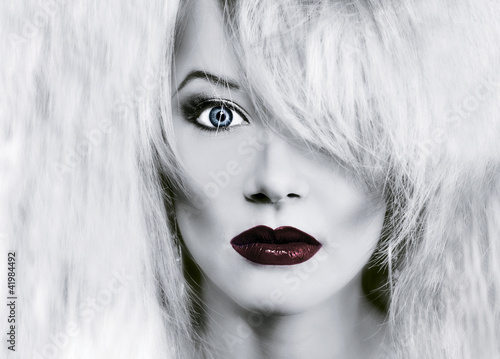 Poster Rouge, noir, blanc glamour woman face with red lips