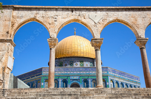 Poster Moyen-Orient Golden Dome on the Rock Mosque in Jerusalem, Israel.