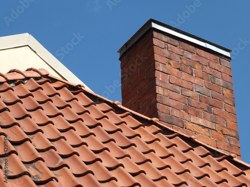Fotografie, Tablou Tile roof and chimney