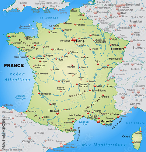 Country Map Of France.Map Of France With Neighboring Countries Buy This Stock Vector And