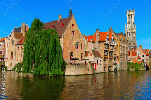 Photo sur Aluminium Bruges canal and houses at Bruges, Belgium