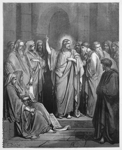 Fotografia Jesus Preaches in the Synagogue