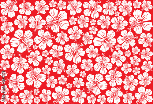 Cotton fabric Seamless floral pattern whit hibiscus