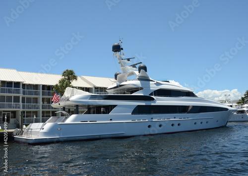 Garden Poster Water Motor sports Luxury yacht in port