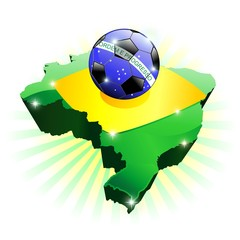 Brazil Soccer Flag on Map-Vector