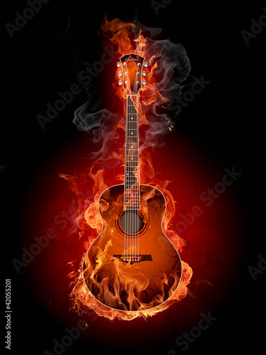Montage in der Fensternische Flamme Burning guitar