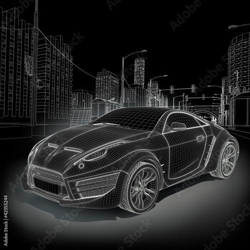 Sports car blueprint  Original car design  - Buy this stock