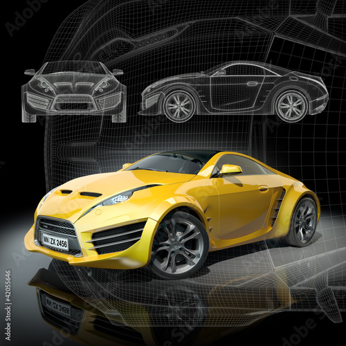 Plakaty motoryzacja   koncepcja-samochodu-3d