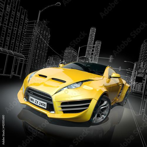 Plakaty motoryzacja   zolty-samochod-sportowy-w-projekcie-3d