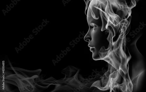 Photo  Face made of smoke