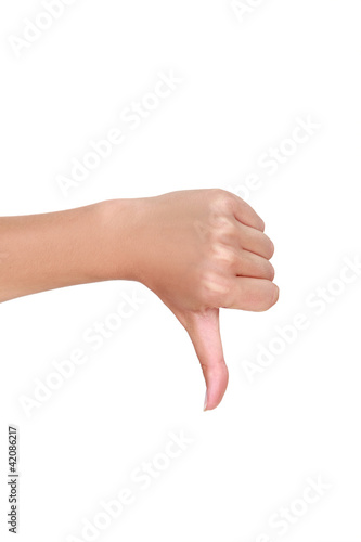 Female hand with thumb down Canvas Print