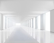 Empty white hall. Vector illustration.