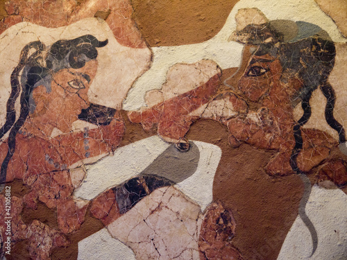 Cuadros en Lienzo 4000 years old Boxing Boys Fresco in Santorini Greece