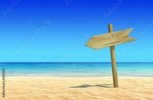 Poster Donkerblauw Empty wooden signpost on idyllic tropical sand beach