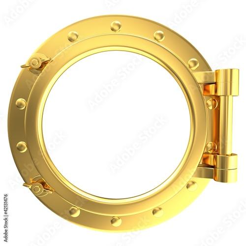 Foto auf AluDibond Schiff Illustration of a gold ship porthole