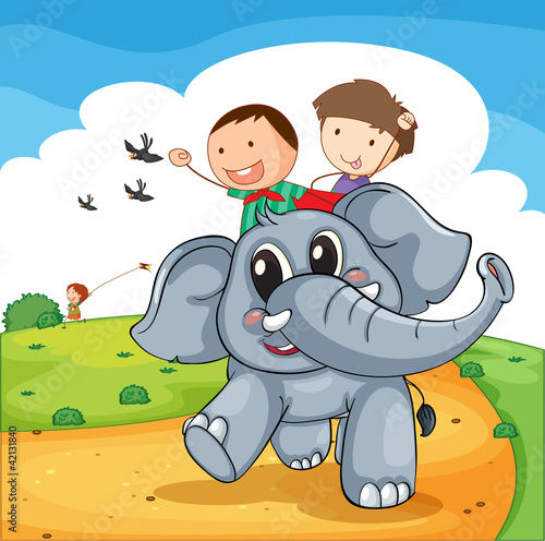 La pose en embrasure Forets enfants Elephant ride