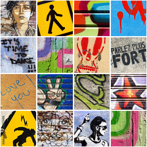 Deurstickers Graffiti collage Street Art 2