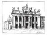 Basilica of Saint John Lateran in Vatican City, vintage engravin