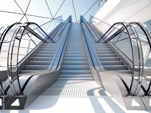 escalator in futuristic building Poster Mural XXL
