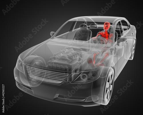 Plakaty samochody nowoczesne   przejrzysta-koncepcja-samochodu-z-kierowca