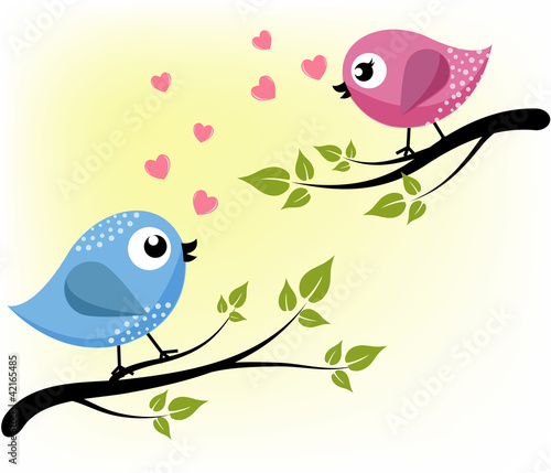 Papiers peints Hibou Two loving birds on the branches