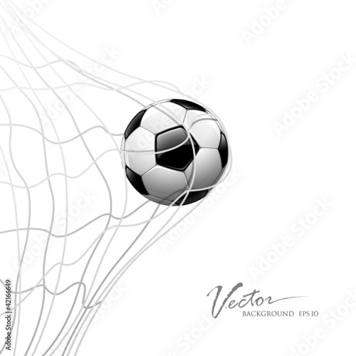 Photo  Soccer ball in net. isolated on white background, vector