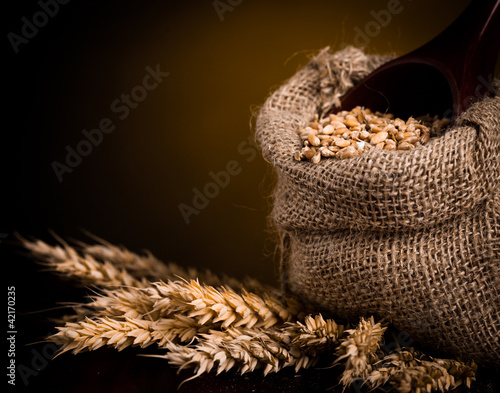Canvas Prints Coffee beans Wheat in burlap bag